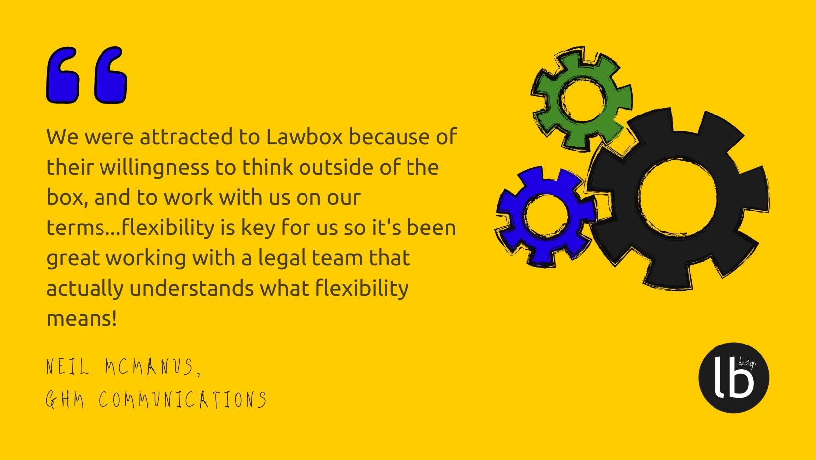 Lawbox Design client quote GHM COmms