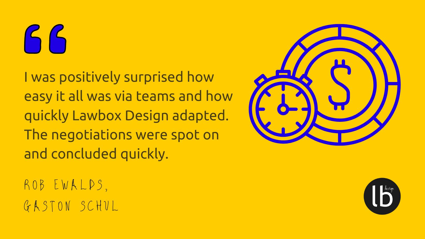 Lawbox Design client quote Gaston Schul